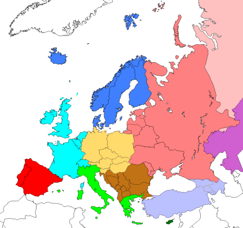 The CIA factbook excludes Caucasus and Cyprus from their definition of Europe http://commons.wikimedia.org